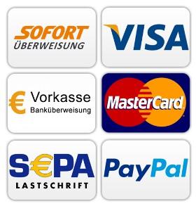 Bei tulago Wohnkultur können Sie mit Kreditkarte, Vorrauskasse, Bankeinzug und Paypal bezahlen